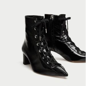 NWT - Zara Black Patent Leather Ankle Boots